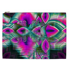 Crystal Flower Garden, Abstract Teal Violet Cosmetic Bag (XXL)