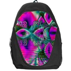 Crystal Flower Garden, Abstract Teal Violet Backpack Bag