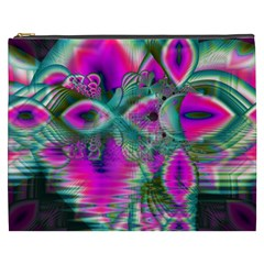 Crystal Flower Garden, Abstract Teal Violet Cosmetic Bag (XXXL)