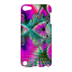 Crystal Flower Garden, Abstract Teal Violet Apple iPod Touch 5 Hardshell Case