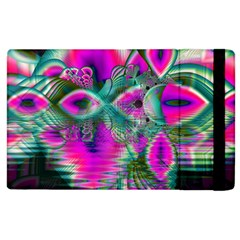 Crystal Flower Garden, Abstract Teal Violet Apple iPad 2 Flip Case