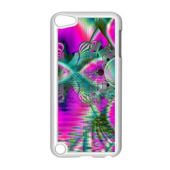 Crystal Flower Garden, Abstract Teal Violet Apple iPod Touch 5 Case (White)