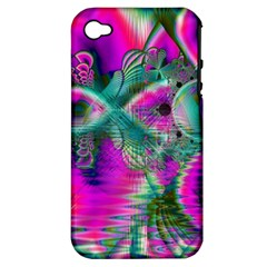 Crystal Flower Garden, Abstract Teal Violet Apple Iphone 4/4s Hardshell Case (pc+silicone)
