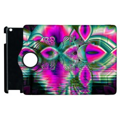 Crystal Flower Garden, Abstract Teal Violet Apple iPad 3/4 Flip 360 Case