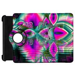 Crystal Flower Garden, Abstract Teal Violet Kindle Fire HD 7  (1st Gen) Flip 360 Case