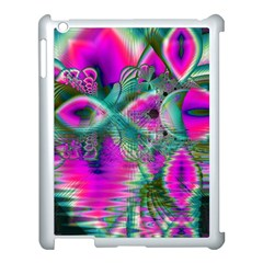 Crystal Flower Garden, Abstract Teal Violet Apple iPad 3/4 Case (White)