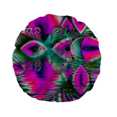 Crystal Flower Garden, Abstract Teal Violet 15  Premium Round Cushion