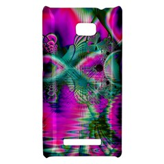 Crystal Flower Garden, Abstract Teal Violet HTC 8X Hardshell Case