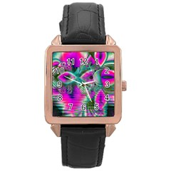 Crystal Flower Garden, Abstract Teal Violet Rose Gold Leather Watch