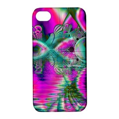 Crystal Flower Garden, Abstract Teal Violet Apple iPhone 4/4S Hardshell Case with Stand