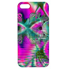 Crystal Flower Garden, Abstract Teal Violet Apple Iphone 5 Hardshell Case With Stand