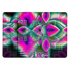 Crystal Flower Garden, Abstract Teal Violet Samsung Galaxy Tab 10.1  P7500 Flip Case