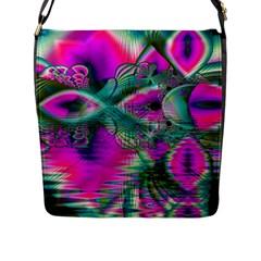 Crystal Flower Garden, Abstract Teal Violet Flap Closure Messenger Bag (large)