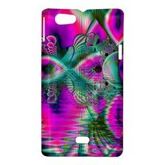 Crystal Flower Garden, Abstract Teal Violet Sony Xperia Miro Hardshell Case