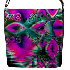 Crystal Flower Garden, Abstract Teal Violet Flap Closure Messenger Bag (small)