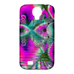Crystal Flower Garden, Abstract Teal Violet Samsung Galaxy S4 Classic Hardshell Case (pc+silicone)
