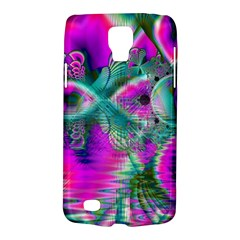 Crystal Flower Garden, Abstract Teal Violet Samsung Galaxy S4 Active (I9295) Hardshell Case