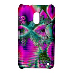 Crystal Flower Garden, Abstract Teal Violet Nokia Lumia 620 Hardshell Case