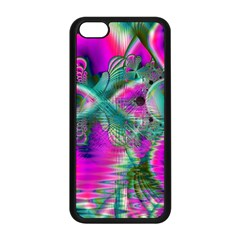 Crystal Flower Garden, Abstract Teal Violet Apple iPhone 5C Seamless Case (Black)