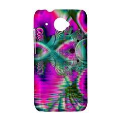 Crystal Flower Garden, Abstract Teal Violet HTC Desire 601 Hardshell Case