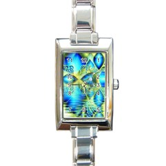 Crystal Lime Turquoise Heart Of Love, Abstract Rectangular Italian Charm Watch