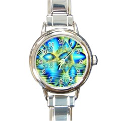 Crystal Lime Turquoise Heart Of Love, Abstract Round Italian Charm Watch