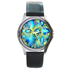 Crystal Lime Turquoise Heart Of Love, Abstract Round Leather Watch (Silver Rim)