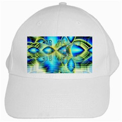 Crystal Lime Turquoise Heart Of Love, Abstract White Baseball Cap