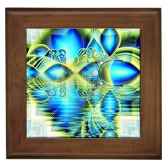 Crystal Lime Turquoise Heart Of Love, Abstract Framed Ceramic Tile