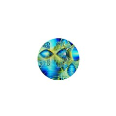 Crystal Lime Turquoise Heart Of Love, Abstract 1  Mini Button