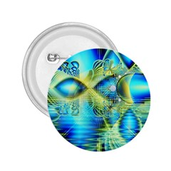 Crystal Lime Turquoise Heart Of Love, Abstract 2.25  Button