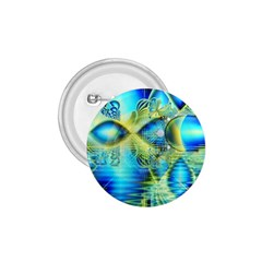 Crystal Lime Turquoise Heart Of Love, Abstract 1.75  Button