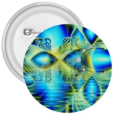 Crystal Lime Turquoise Heart Of Love, Abstract 3  Button