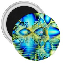 Crystal Lime Turquoise Heart Of Love, Abstract 3  Button Magnet