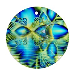 Crystal Lime Turquoise Heart Of Love, Abstract Round Ornament