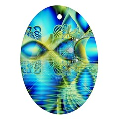 Crystal Lime Turquoise Heart Of Love, Abstract Oval Ornament