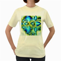 Crystal Lime Turquoise Heart Of Love, Abstract Women s T-shirt (Yellow)
