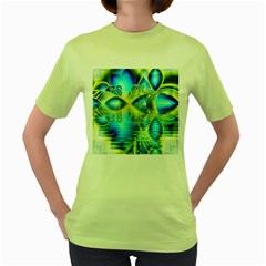 Crystal Lime Turquoise Heart Of Love, Abstract Women s T-shirt (Green)