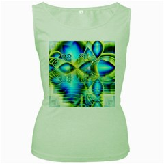 Crystal Lime Turquoise Heart Of Love, Abstract Women s Tank Top (Green)