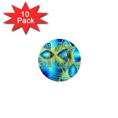 Crystal Lime Turquoise Heart Of Love, Abstract 1  Mini Button (10 pack)