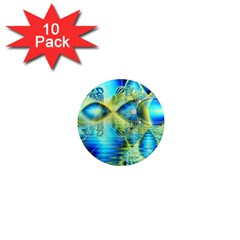 Crystal Lime Turquoise Heart Of Love, Abstract 1  Mini Button Magnet (10 pack)