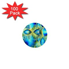 Crystal Lime Turquoise Heart Of Love, Abstract 1  Mini Button (100 pack)