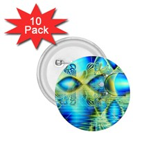 Crystal Lime Turquoise Heart Of Love, Abstract 1.75  Button (10 pack)