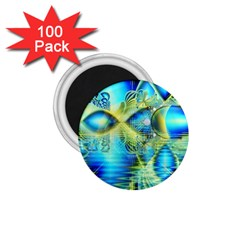Crystal Lime Turquoise Heart Of Love, Abstract 1.75  Button Magnet (100 pack)