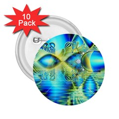 Crystal Lime Turquoise Heart Of Love, Abstract 2.25  Button (10 pack)