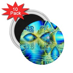 Crystal Lime Turquoise Heart Of Love, Abstract 2 25  Button Magnet (10 Pack)