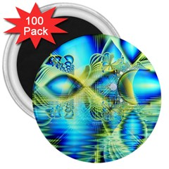 Crystal Lime Turquoise Heart Of Love, Abstract 3  Button Magnet (100 pack)