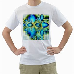 Crystal Lime Turquoise Heart Of Love, Abstract Men s Two-sided T-shirt (White)