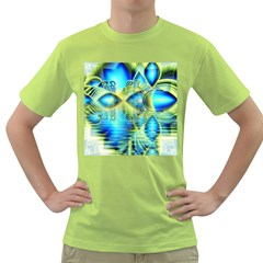 Crystal Lime Turquoise Heart Of Love, Abstract Men s T-shirt (Green)