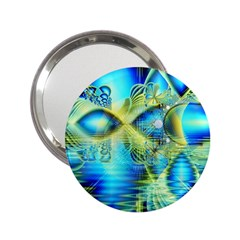 Crystal Lime Turquoise Heart Of Love, Abstract Handbag Mirror (2.25 )